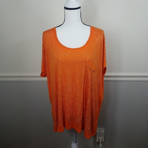 Live and let live orange sequin blouse pocket 1X